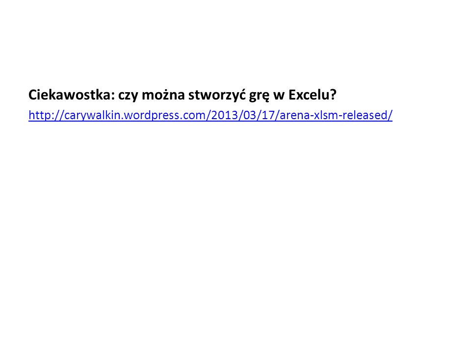 Ciekawostka: czy można stworzyć grę w Excelu