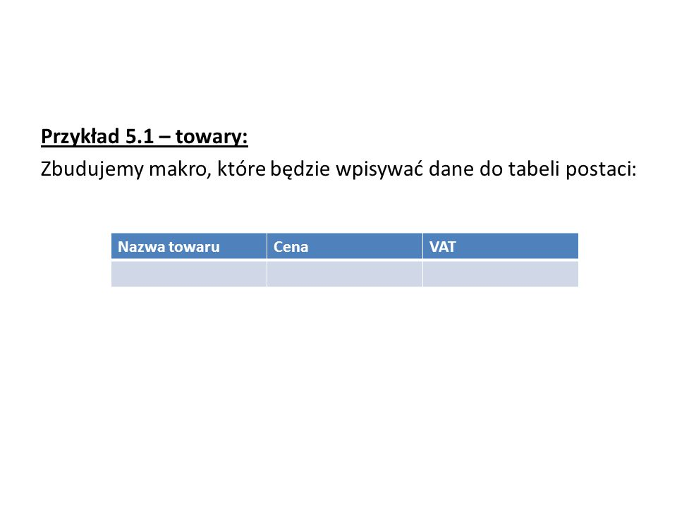 Przykład 5.1 – towary: Zbudujemy makro, które będzie wpisywać dane do tabeli postaci: