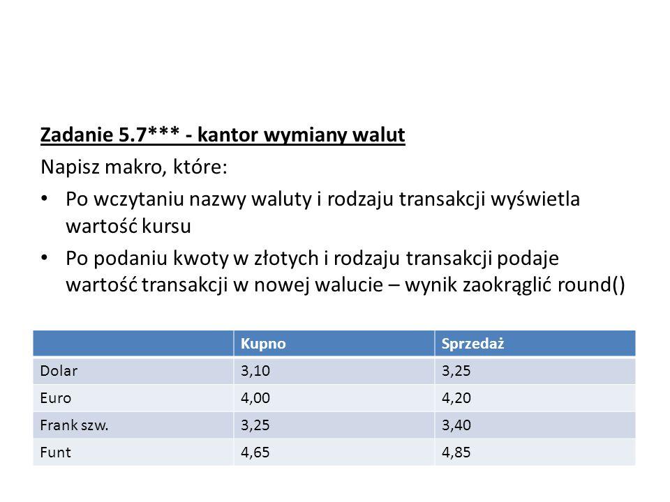 Zadanie 5.7*** - kantor wymiany walut Napisz makro, które: