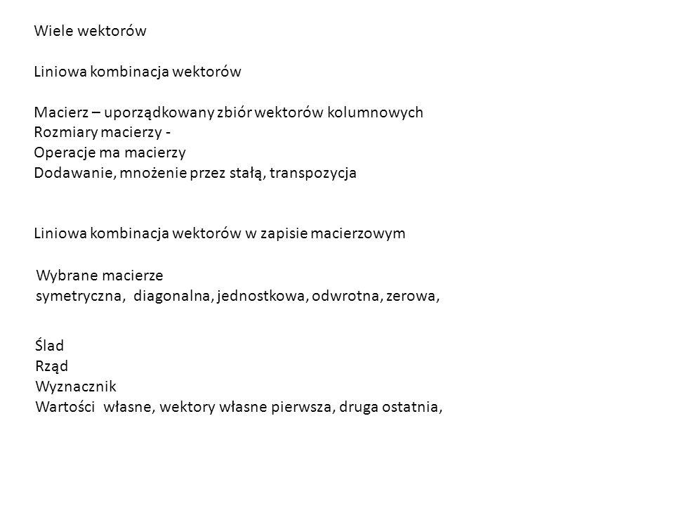 Wiele wektorów Liniowa kombinacja wektorów. Macierz – uporządkowany zbiór wektorów kolumnowych. Rozmiary macierzy -