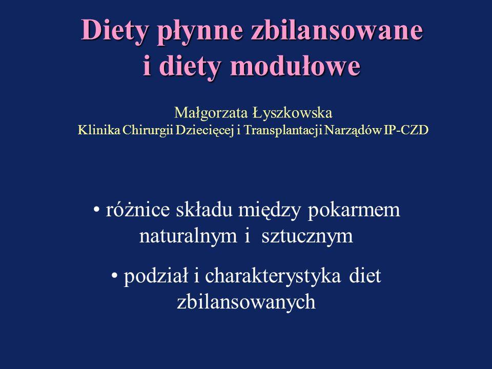 Diety płynne zbilansowane i diety modułowe
