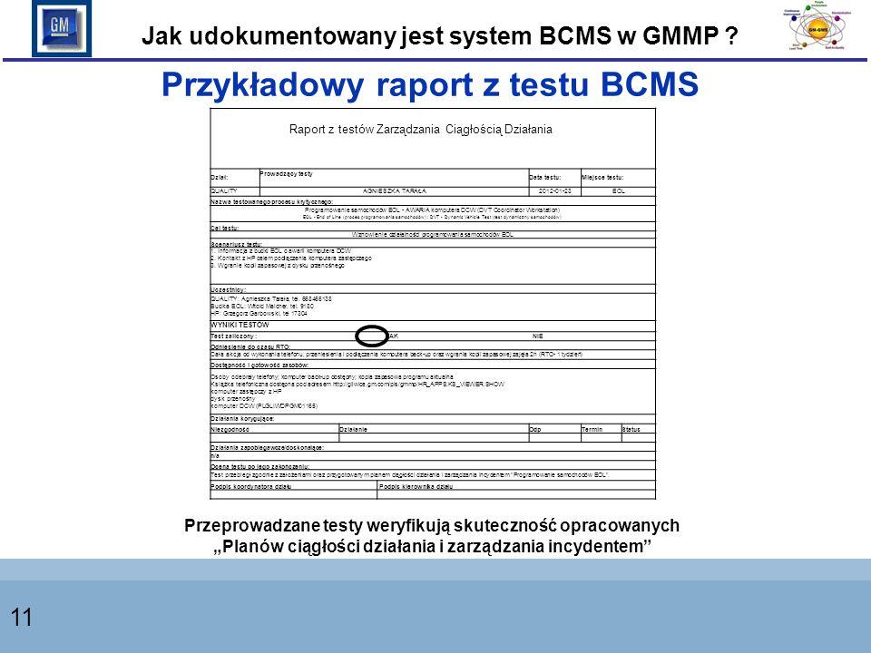 Przykładowy raport z testu BCMS