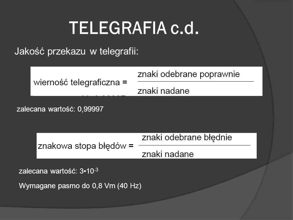 TELEGRAFIA c.d. Jakość przekazu w telegrafii:
