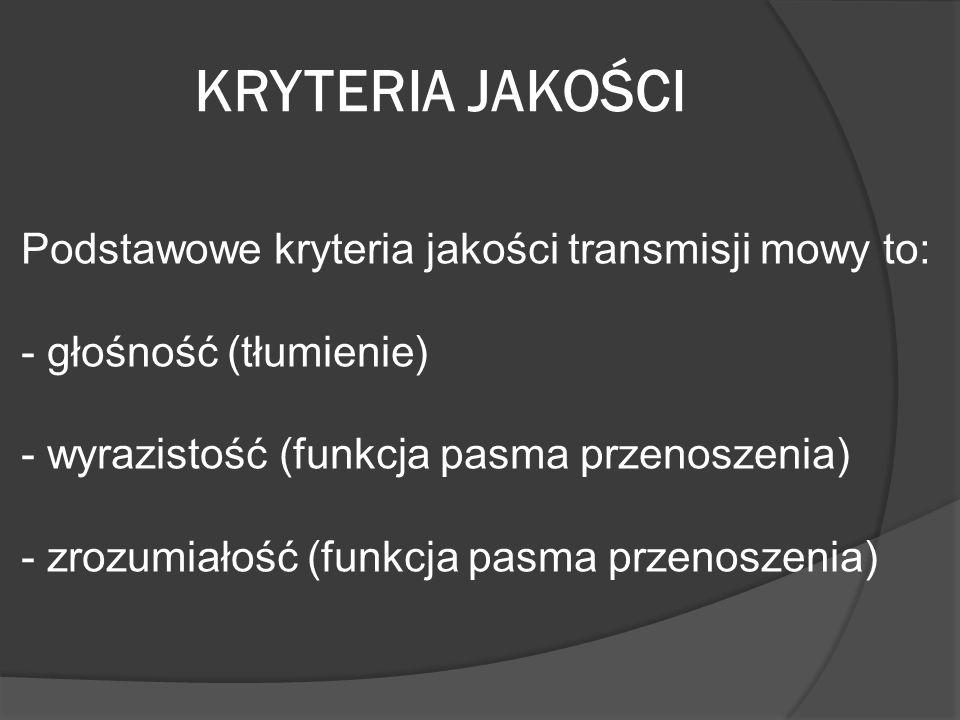 KRYTERIA JAKOŚCI Podstawowe kryteria jakości transmisji mowy to: