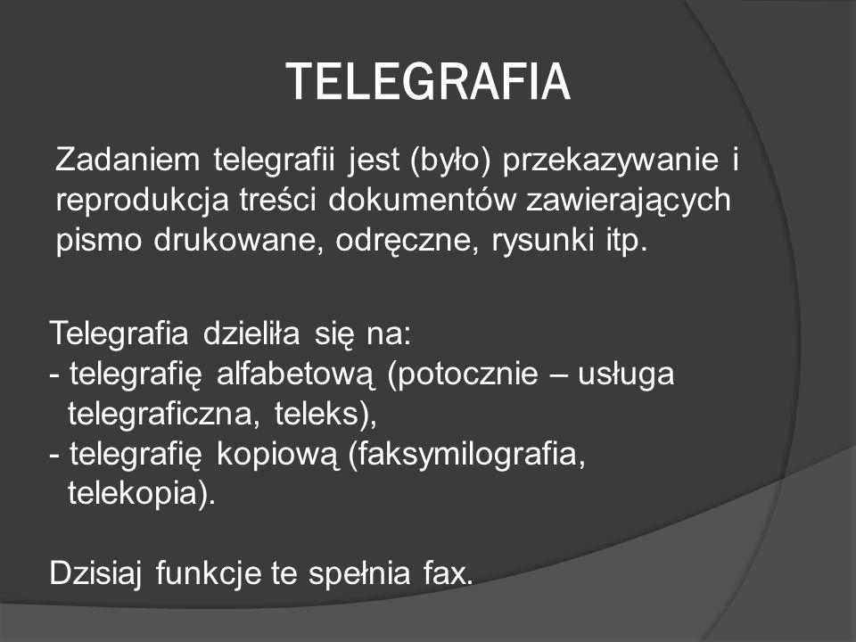 TELEGRAFIAZadaniem telegrafii jest (było) przekazywanie i reprodukcja treści dokumentów zawierających pismo drukowane, odręczne, rysunki itp.
