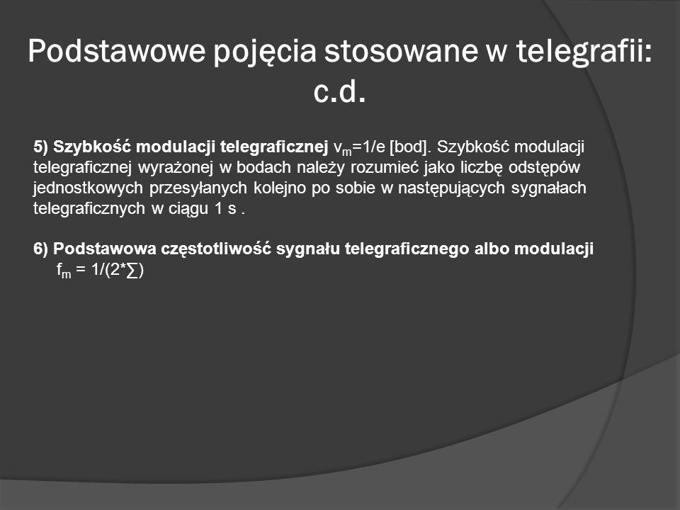Podstawowe pojęcia stosowane w telegrafii: c.d.
