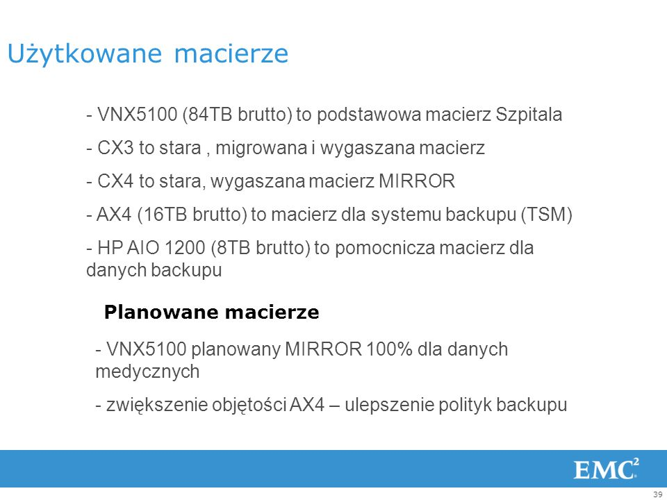 Użytkowane macierze VNX5100 (84TB brutto) to podstawowa macierz Szpitala. CX3 to stara , migrowana i wygaszana macierz.