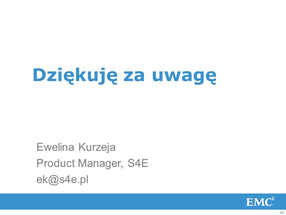 Dziękuję za uwagę Ewelina Kurzeja Product Manager, S4E ek@s4e.pl