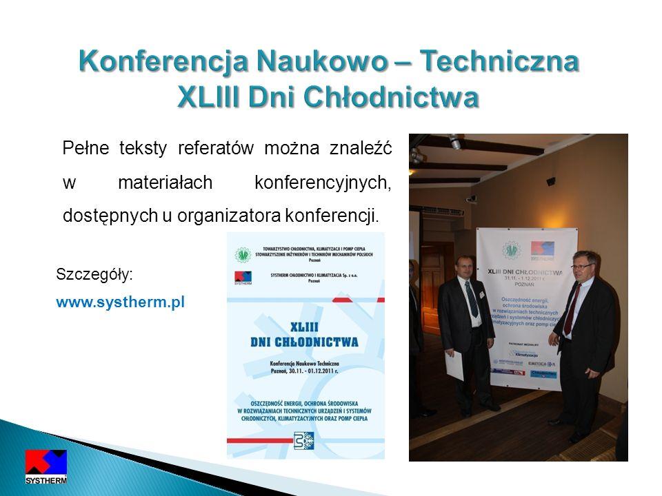Konferencja Naukowo – Techniczna XLIII Dni Chłodnictwa
