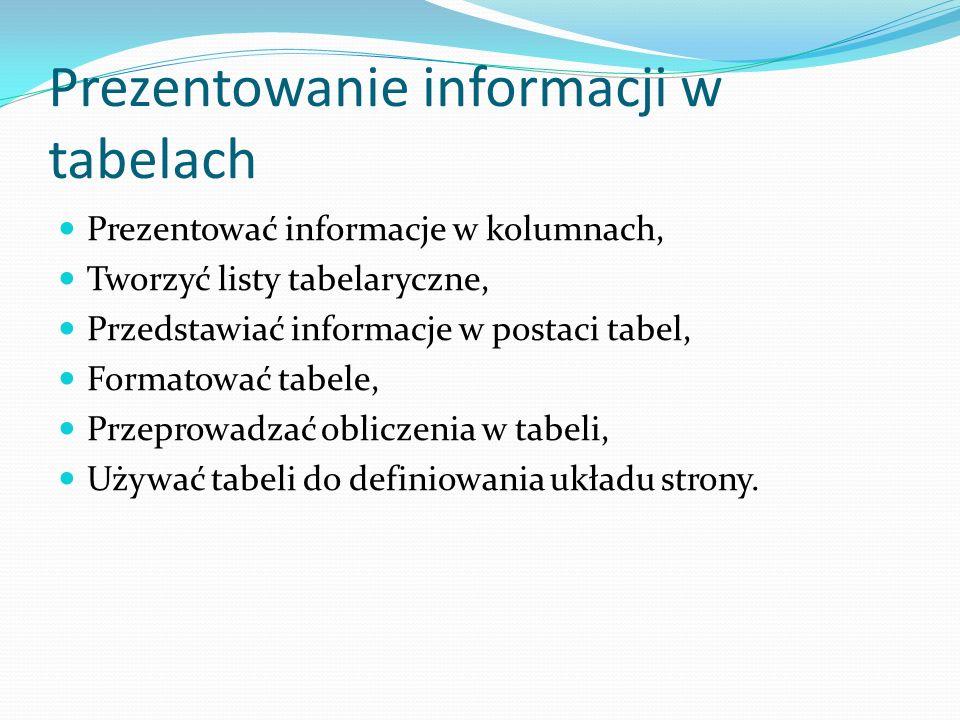 Prezentowanie informacji w tabelach