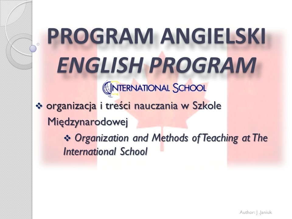 PROGRAM ANGIELSKI ENGLISH PROGRAM