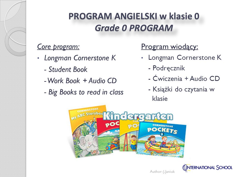 PROGRAM ANGIELSKI w klasie 0 Grade 0 PROGRAM
