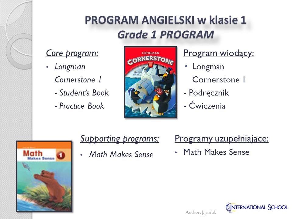 PROGRAM ANGIELSKI w klasie 1 Grade 1 PROGRAM