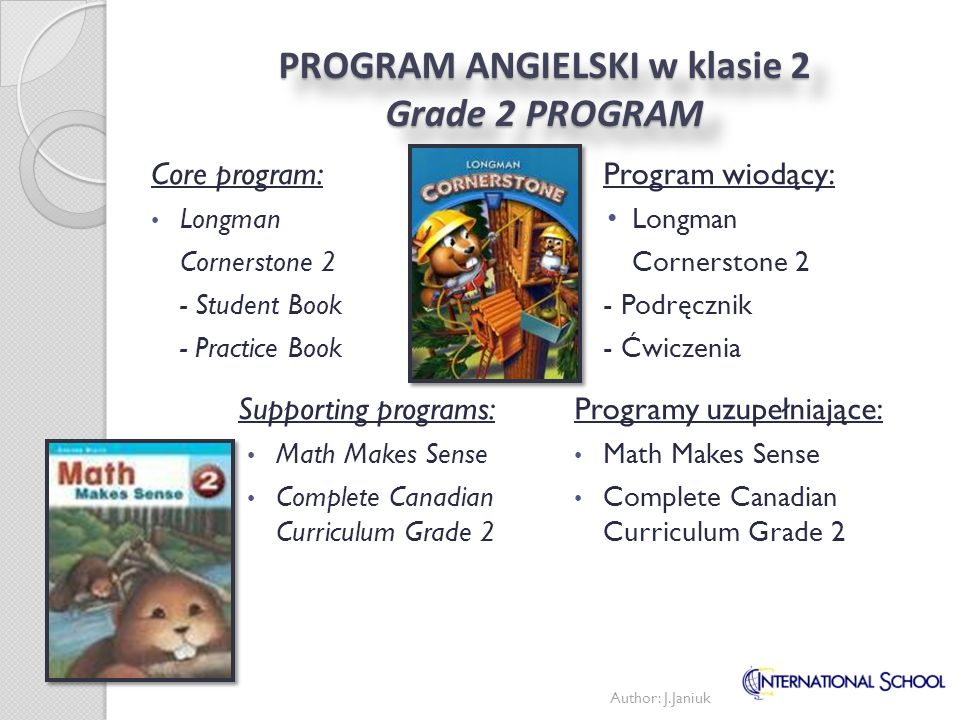 PROGRAM ANGIELSKI w klasie 2 Grade 2 PROGRAM