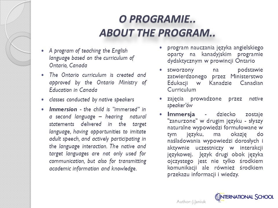O PROGRAMIE.. ABOUT THE PROGRAM..