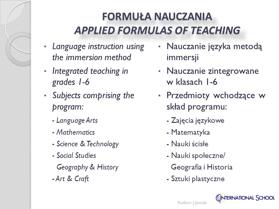 FORMUŁA NAUCZANIA APPLIED FORMULAS OF TEACHING