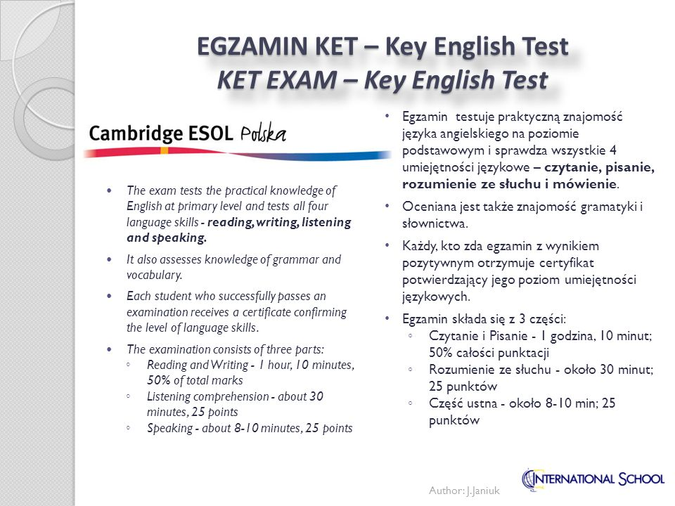 EGZAMIN KET – Key English Test KET EXAM – Key English Test