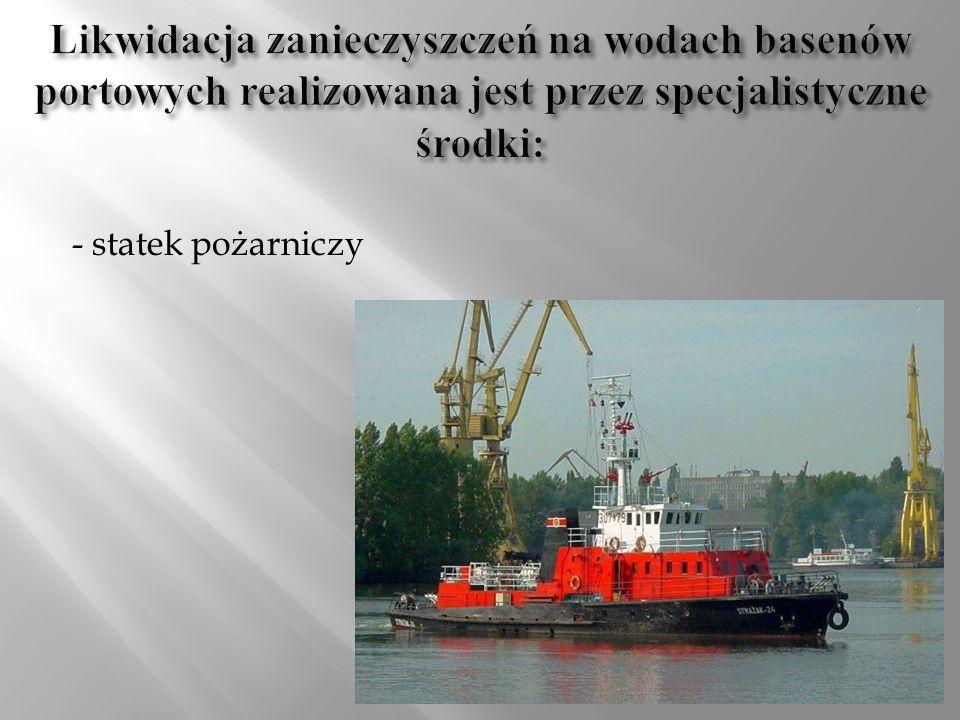 Likwidacja zanieczyszczeń na wodach basenów portowych realizowana jest przez specjalistyczne środki: