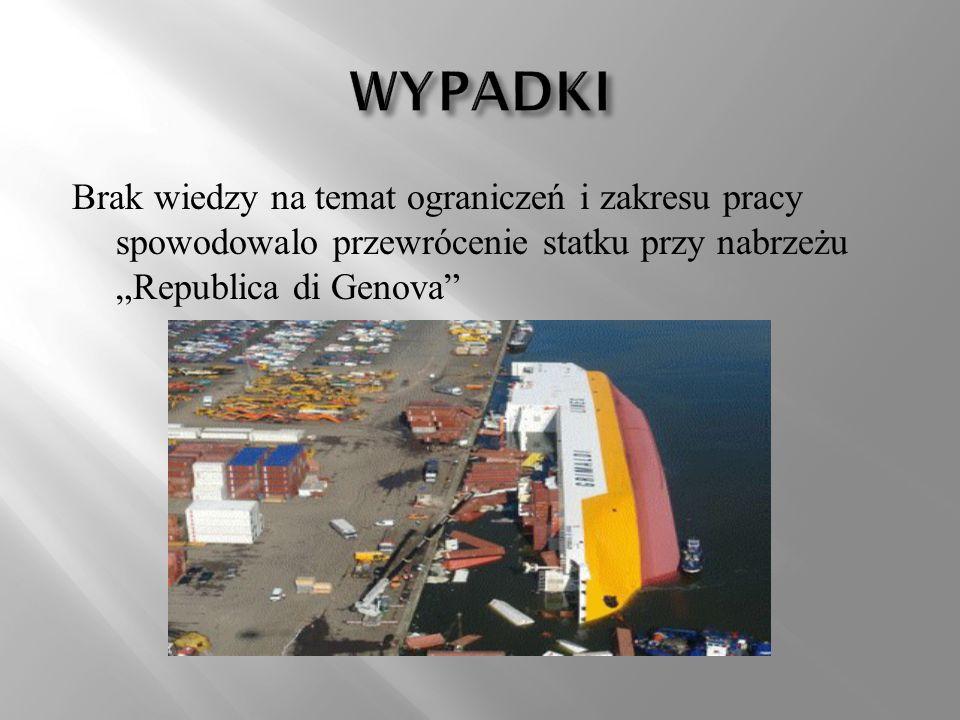 """WYPADKI Brak wiedzy na temat ograniczeń i zakresu pracy spowodowalo przewrócenie statku przy nabrzeżu """"Republica di Genova"""