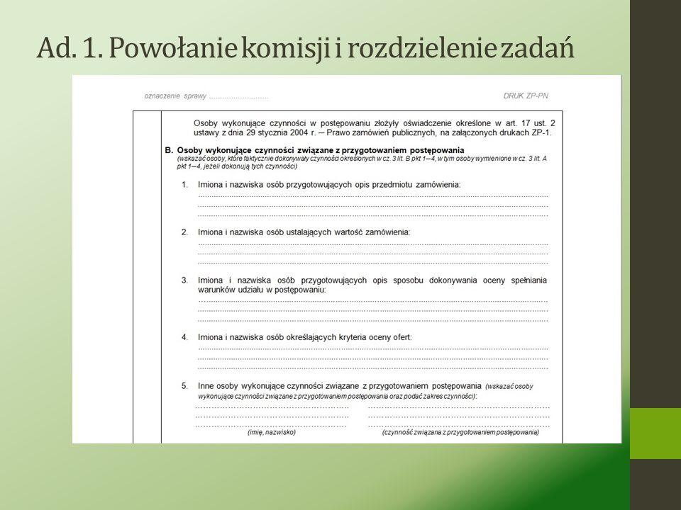 Ad. 1. Powołanie komisji i rozdzielenie zadań