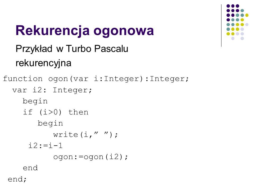 Rekurencja ogonowa Przykład w Turbo Pascalu rekurencyjna