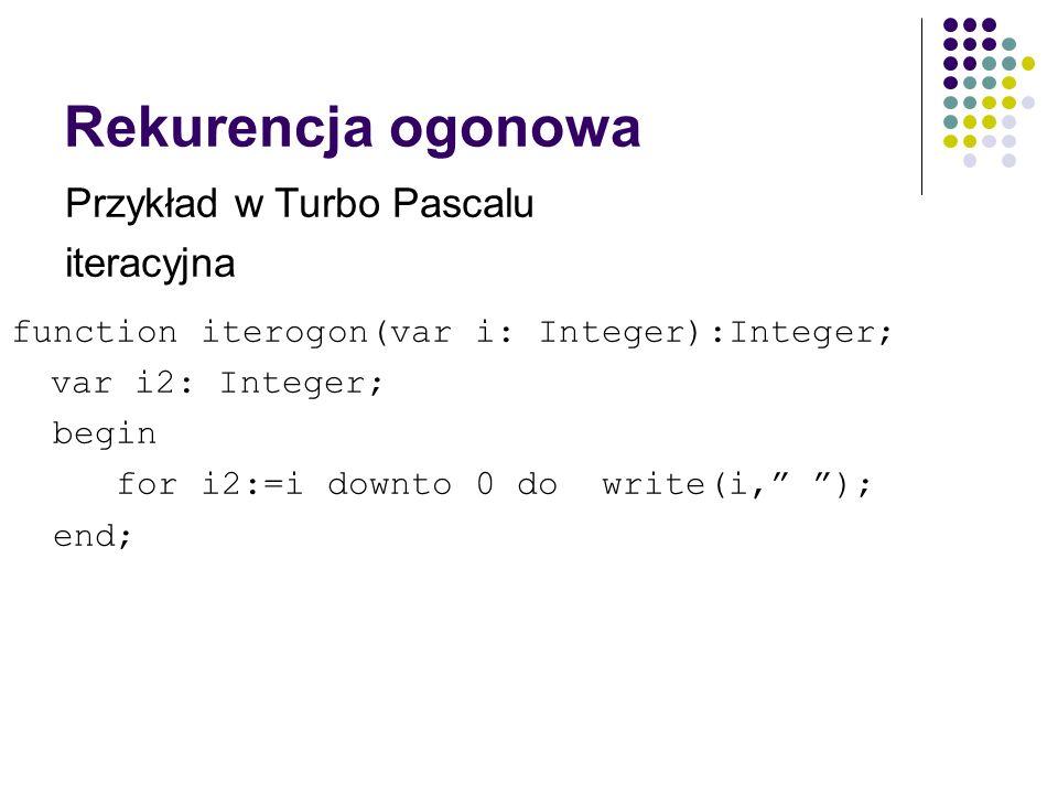 Rekurencja ogonowa Przykład w Turbo Pascalu iteracyjna