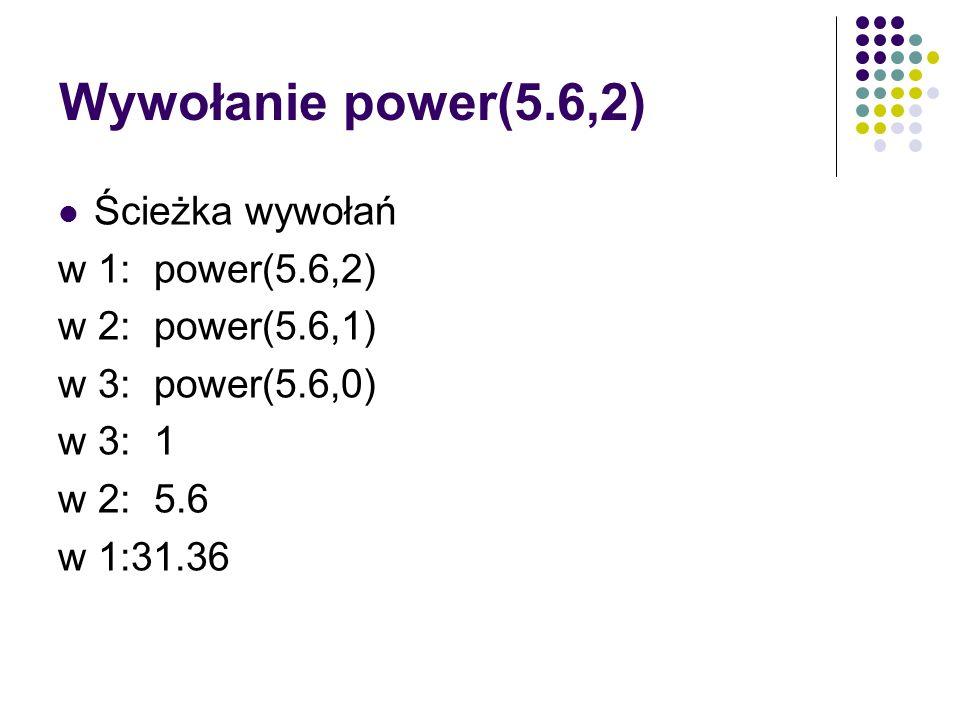 Wywołanie power(5.6,2) Ścieżka wywołań w 1: power(5.6,2)
