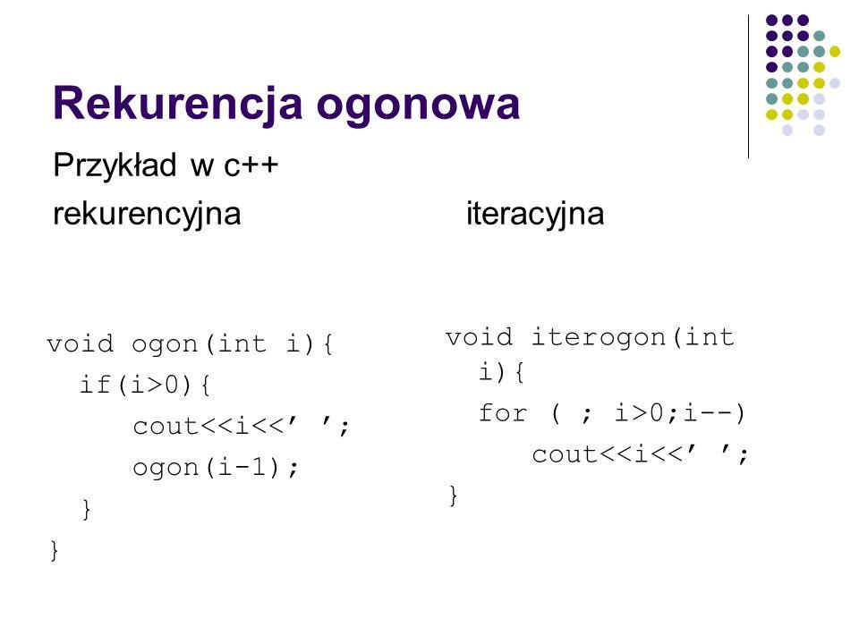 Rekurencja ogonowa Przykład w c++ rekurencyjna iteracyjna