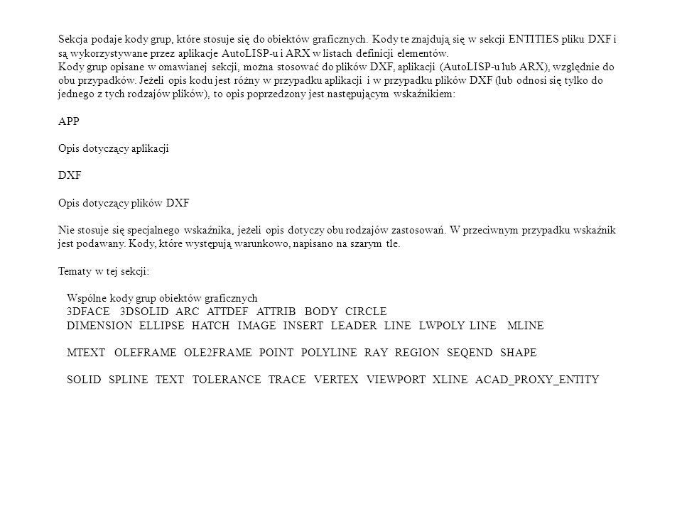 Sekcja podaje kody grup, które stosuje się do obiektów graficznych