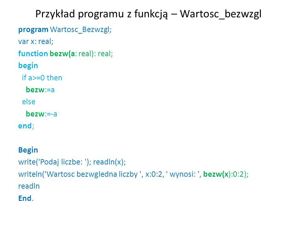 Przykład programu z funkcją – Wartosc_bezwzgl