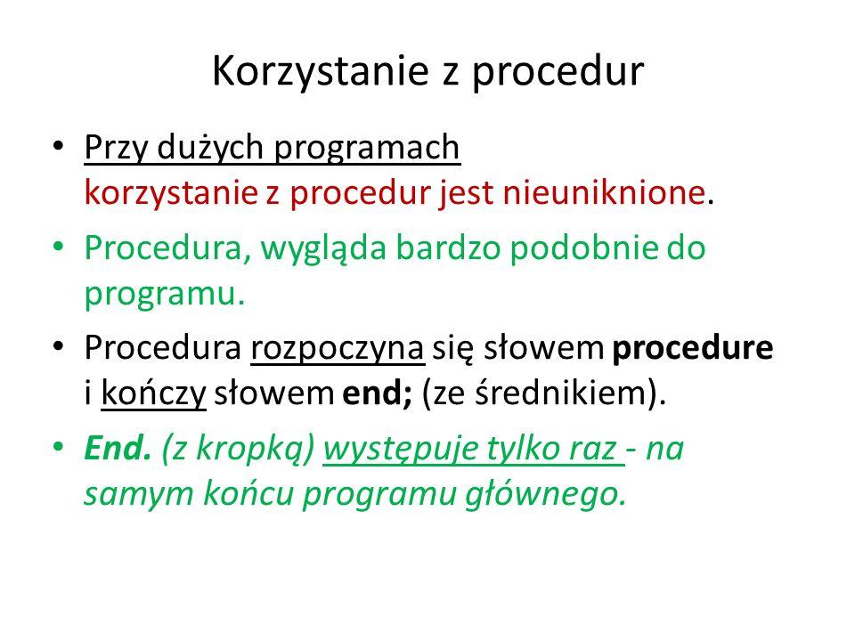 Korzystanie z procedur
