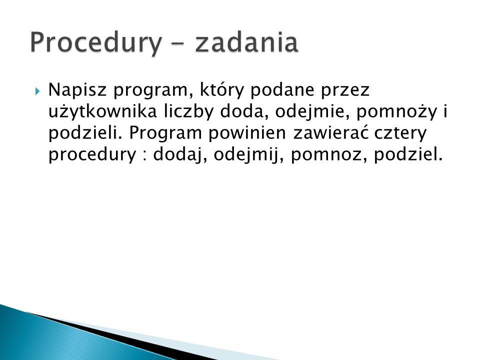 Procedury - zadania