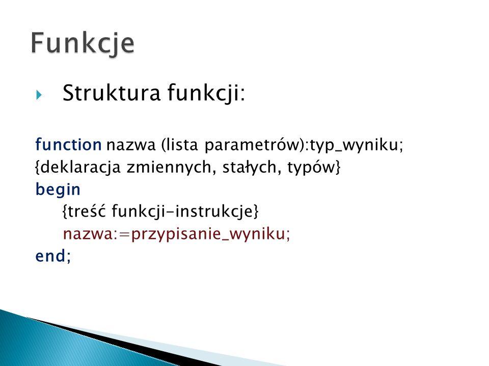 Funkcje Struktura funkcji: