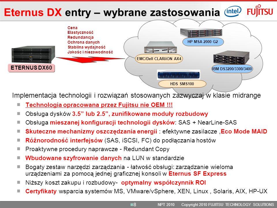 Eternus DX entry – wybrane zastosowania