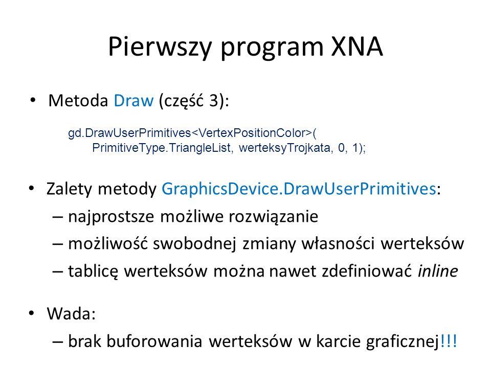 Pierwszy program XNA Metoda Draw (część 3):