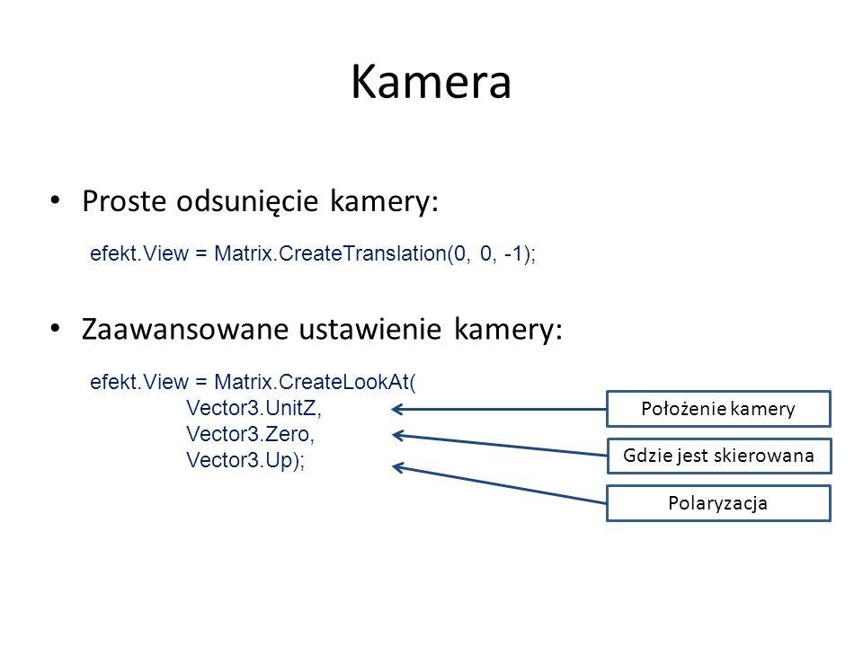 Kamera Proste odsunięcie kamery: Zaawansowane ustawienie kamery: