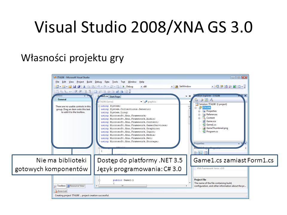 Visual Studio 2008/XNA GS 3.0 Własności projektu gry