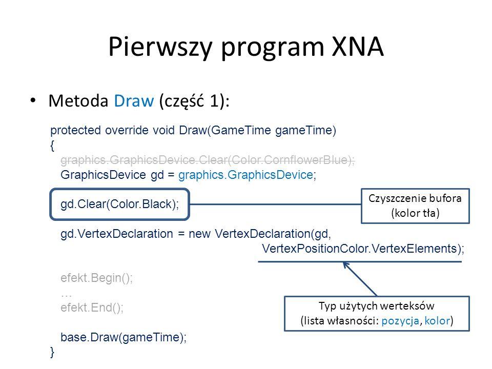 Pierwszy program XNA Metoda Draw (część 1):
