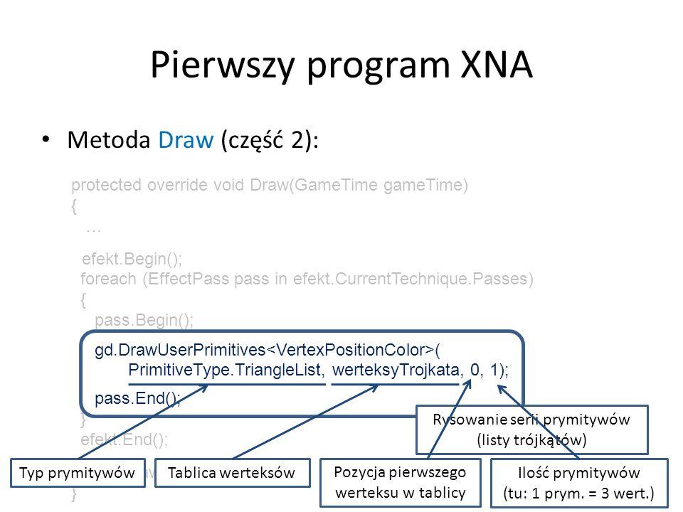 Pierwszy program XNA Metoda Draw (część 2):