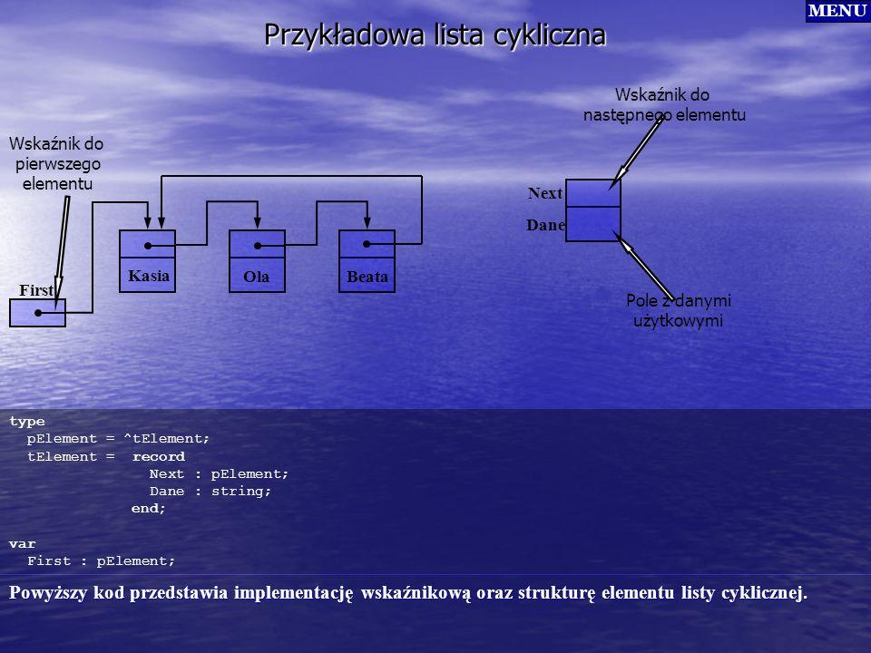 Przykładowa lista cykliczna