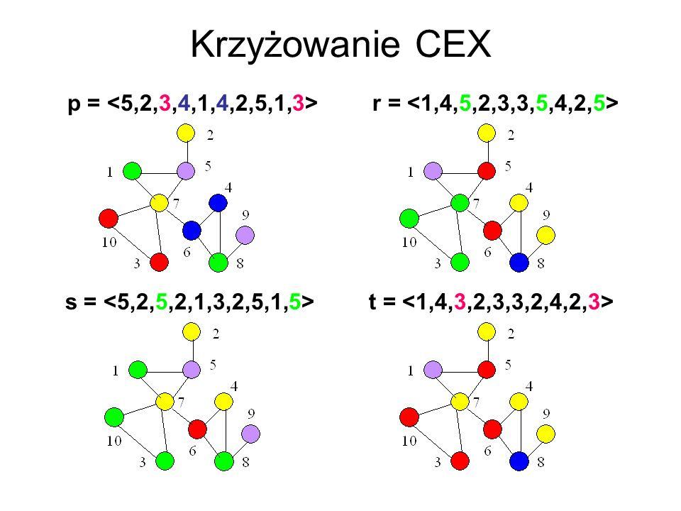 Krzyżowanie CEX p = <5,2,3,4,1,4,2,5,1,3> r = <1,4,5,2,3,3,5,4,2,5> s = <5,2,5,2,1,3,2,5,1,5> t = <1,4,3,2,3,3,2,4,2,3>