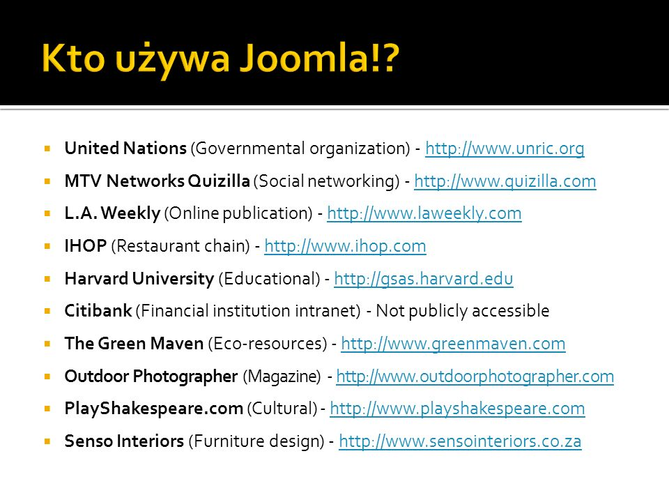 Kto używa Joomla! United Nations (Governmental organization) - http://www.unric.org.