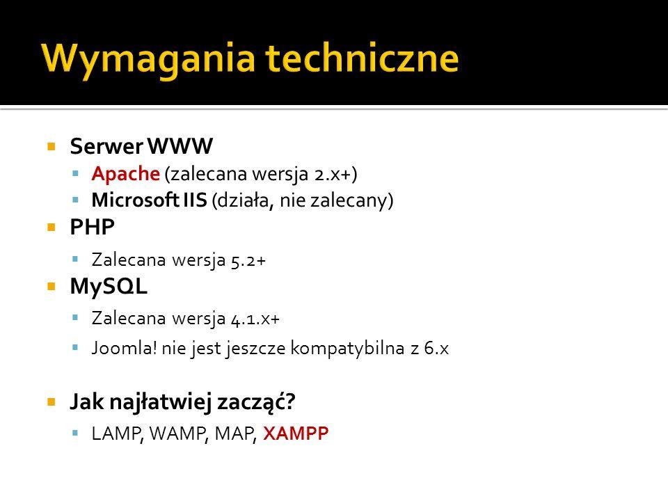 Wymagania techniczne Serwer WWW PHP MySQL Jak najłatwiej zacząć