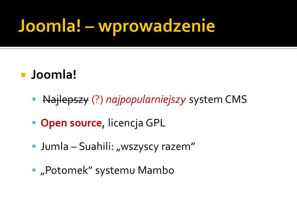 Joomla! – wprowadzenie Joomla!