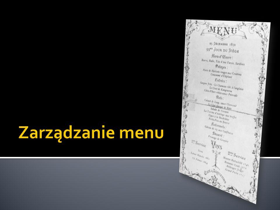 Zarządzanie menu