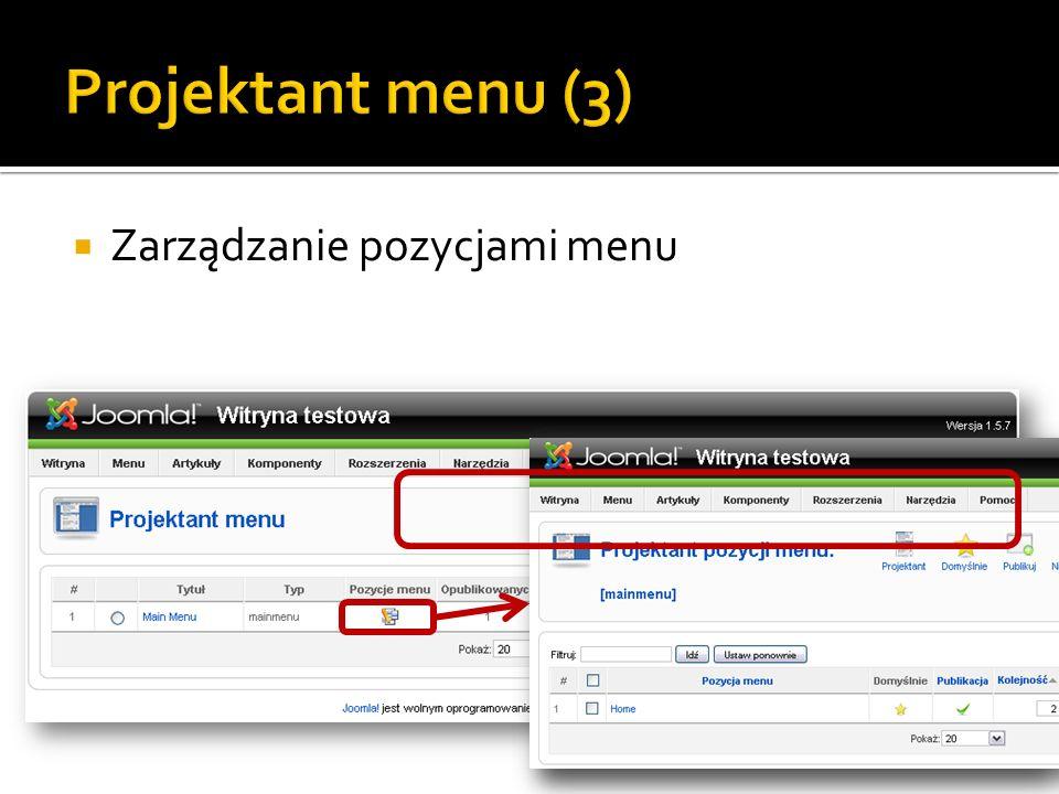 Projektant menu (3) Zarządzanie pozycjami menu