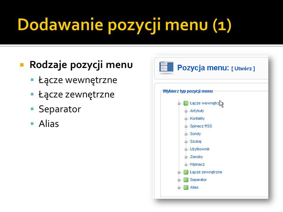 Dodawanie pozycji menu (1)