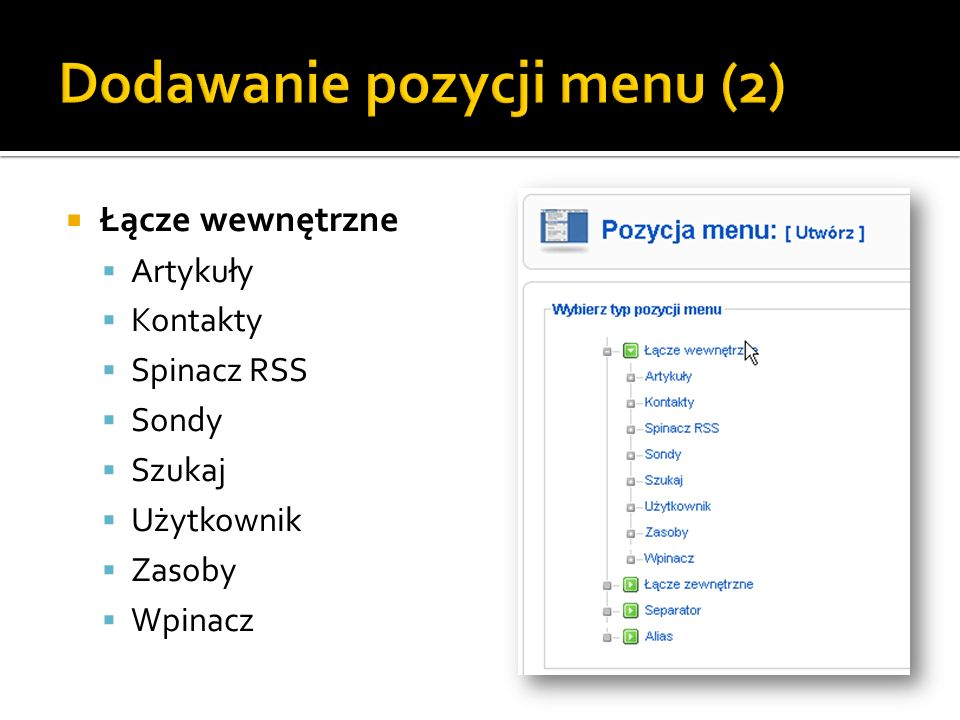 Dodawanie pozycji menu (2)