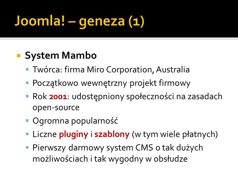 Joomla! – geneza (1) System Mambo