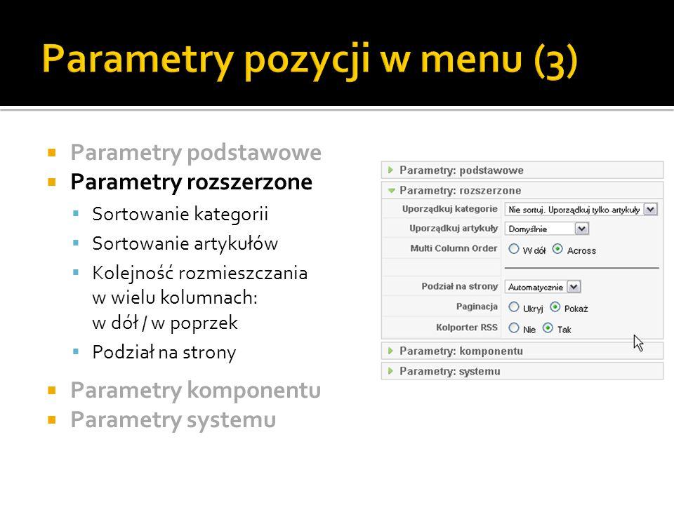 Parametry pozycji w menu (3)